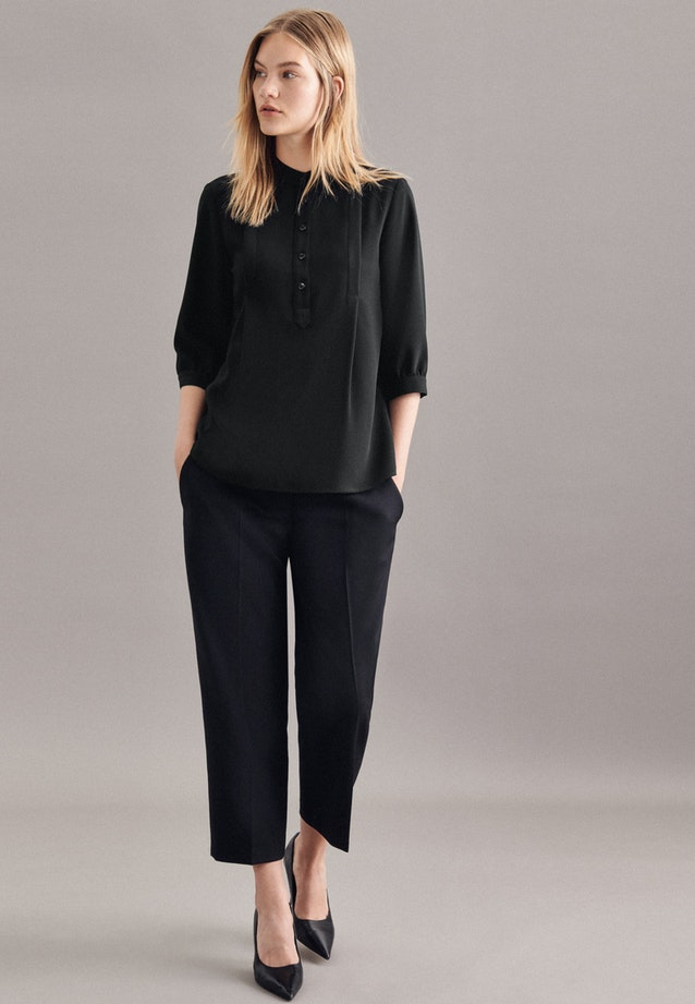 3/4-sleeve Crepe Stand-Up Blouse made of 100% Polyester in Black |  Seidensticker Onlineshop