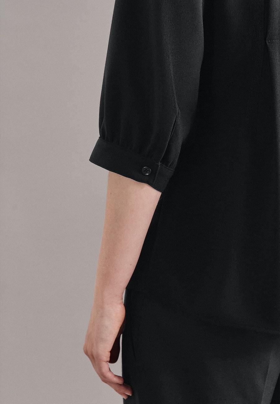 3/4-Arm Krepp Stehkragenbluse aus 100% Polyester in Schwarz    Seidensticker Onlineshop