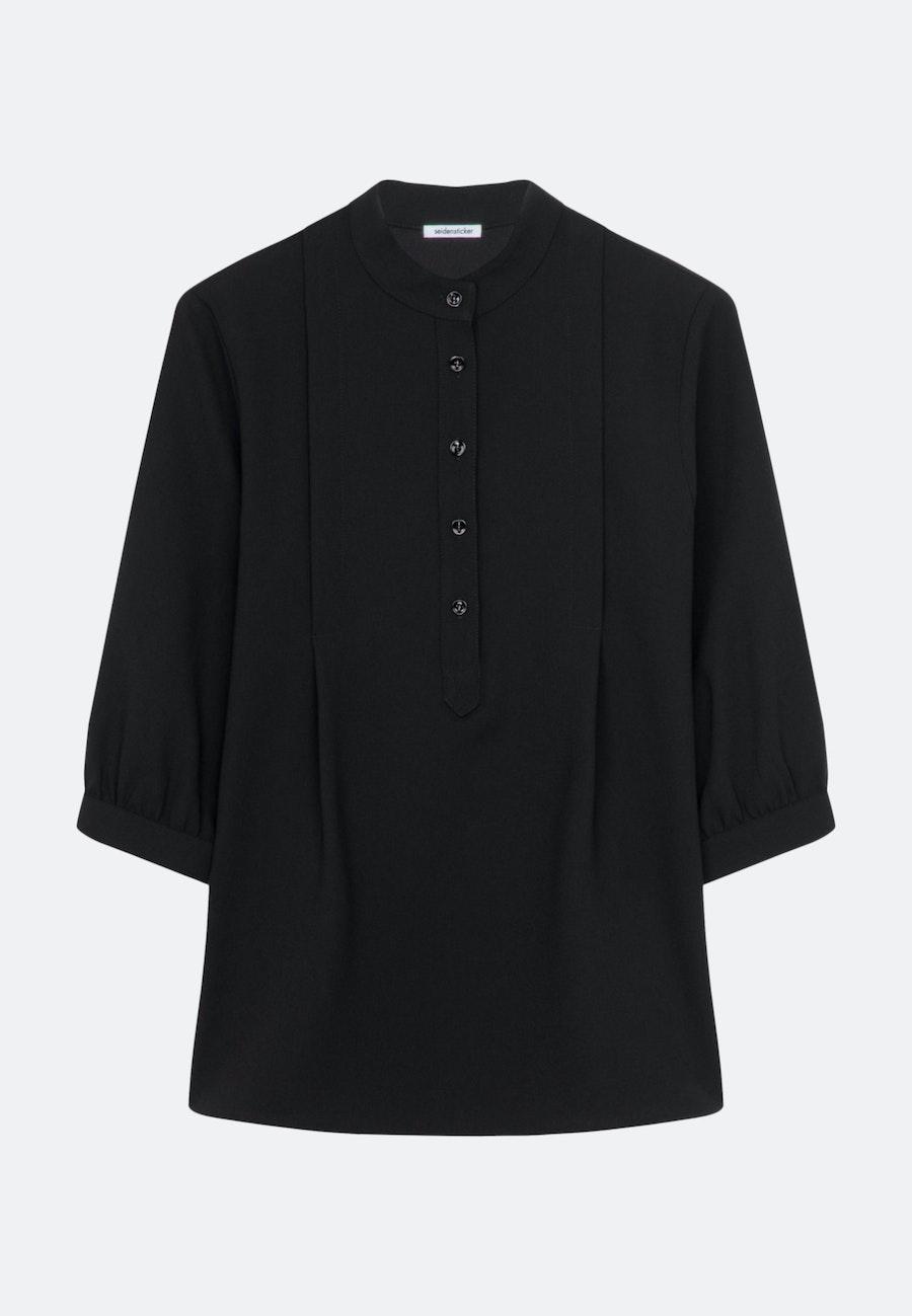 3/4-Arm Krepp Stehkragenbluse aus 100% Polyester in Schwarz |  Seidensticker Onlineshop