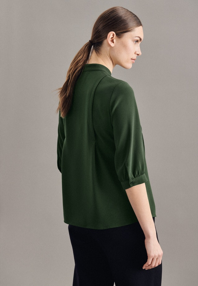 3/4-sleeve Crepe Stand-Up Blouse made of 100% Polyester in Green |  Seidensticker Onlineshop