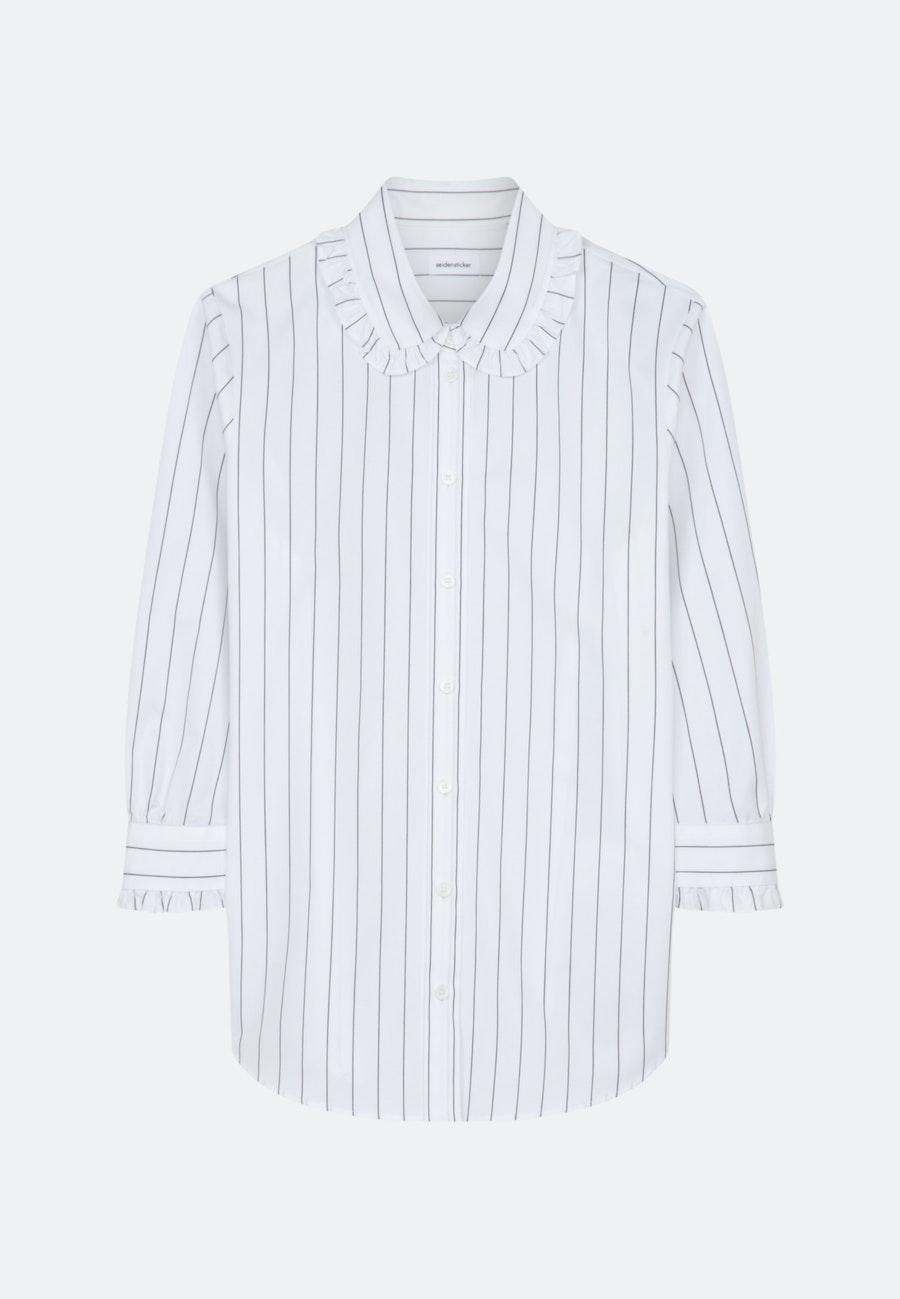 3/4-Arm Twill Hemdbluse aus 100% Baumwolle in Weiß    Seidensticker Onlineshop