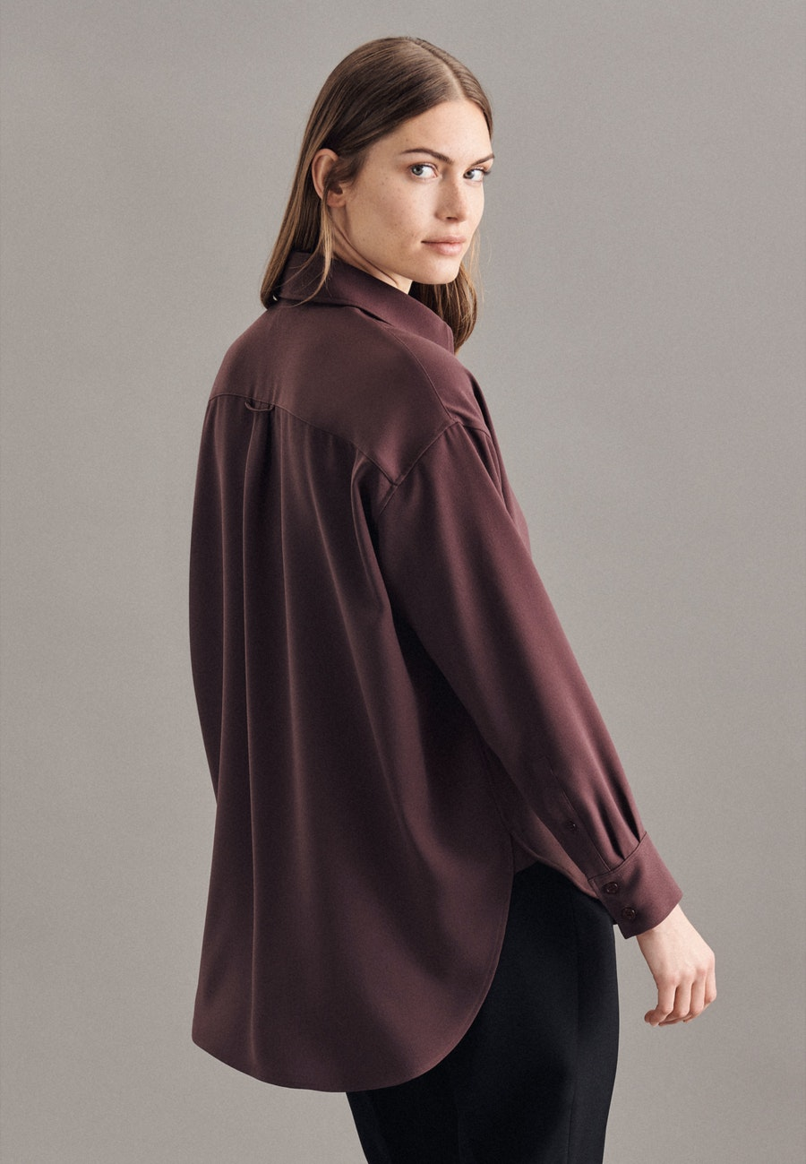 Krepp Longbluse aus 100% Polyester in Rot |  Seidensticker Onlineshop