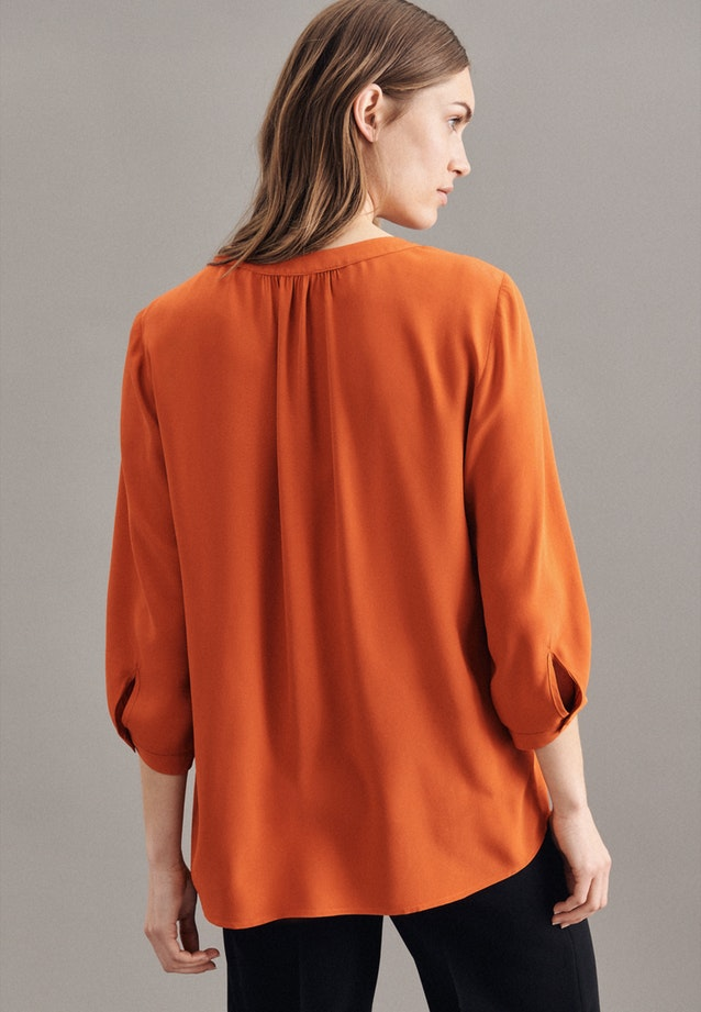 3/4-sleeve Crepe Shirt Blouse made of 100% Viscose in Orange |  Seidensticker Onlineshop