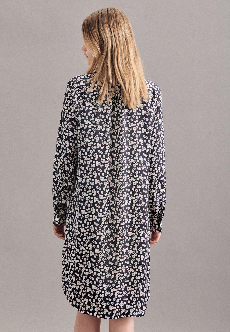 Satin Midi Kleid aus 100% Viskose in Dunkelblau    Seidensticker Onlineshop