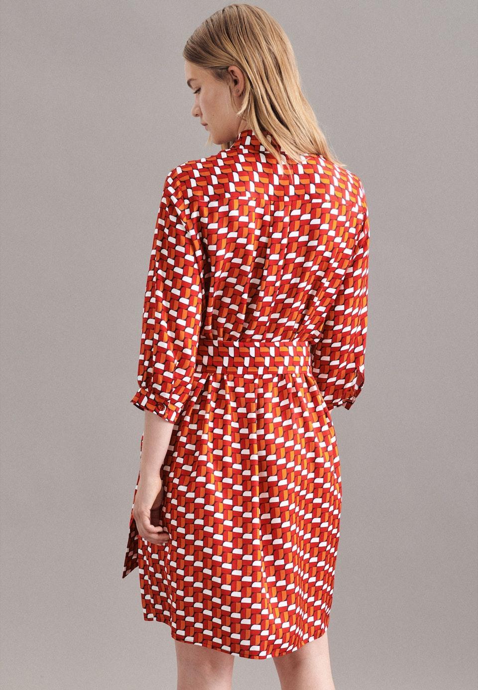 Twill Midi Kleid aus 100% Viskose in Rot    Seidensticker Onlineshop
