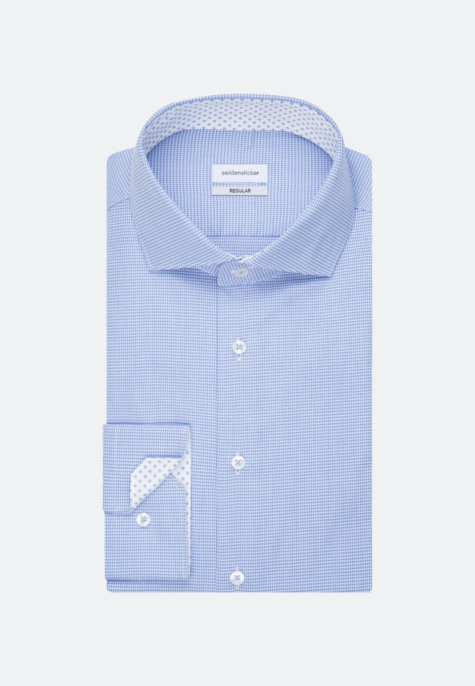 Bügelfreies Pepita Business Hemd in Regular mit Kentkragen in Hellblau |  Seidensticker Onlineshop