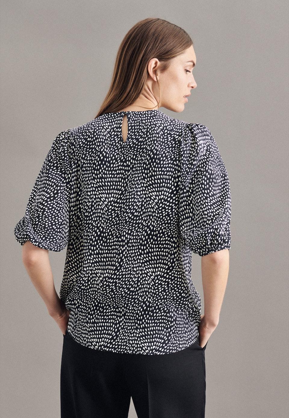 Kurzarm Krepp Shirtbluse aus 100% Viskose in Schwarz |  Seidensticker Onlineshop