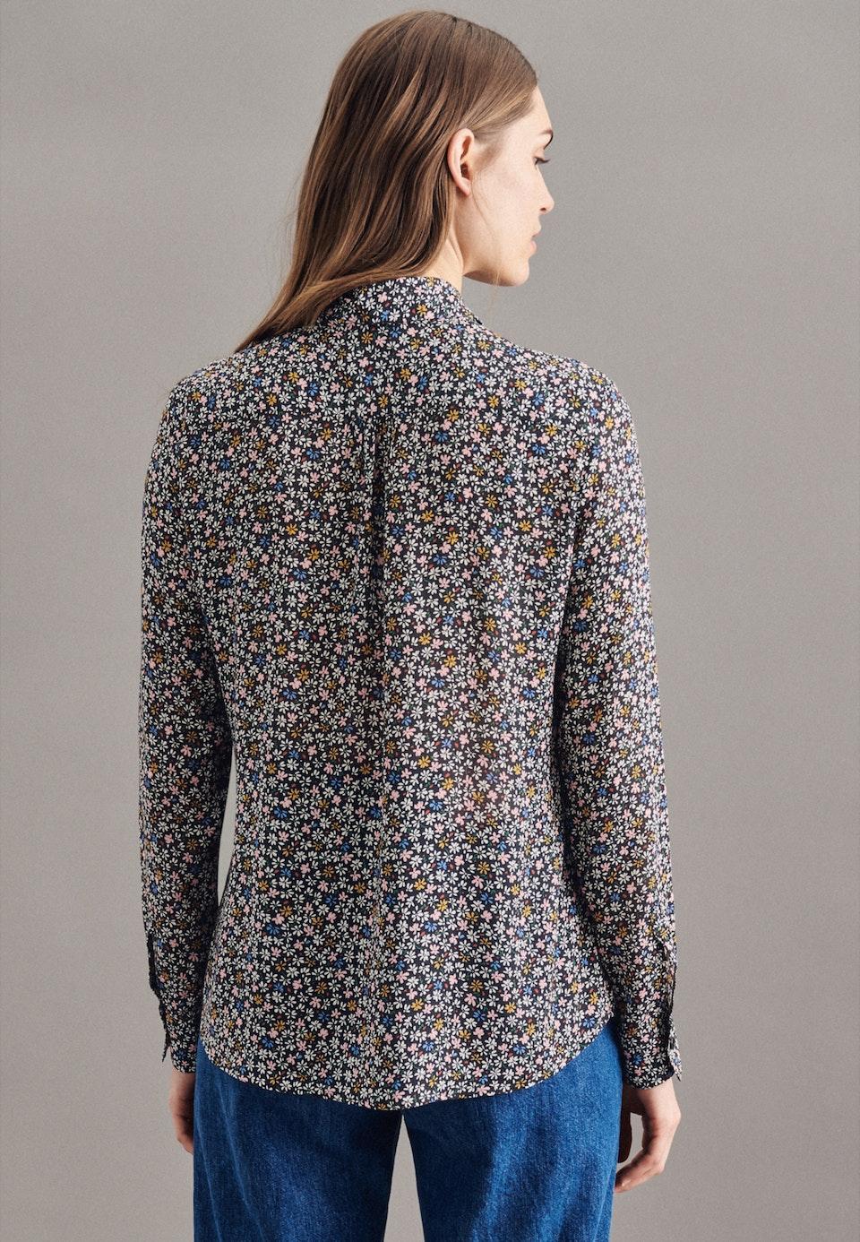 Krepp Schluppenbluse aus Viskose & Wolle in Schwarz    Seidensticker Onlineshop