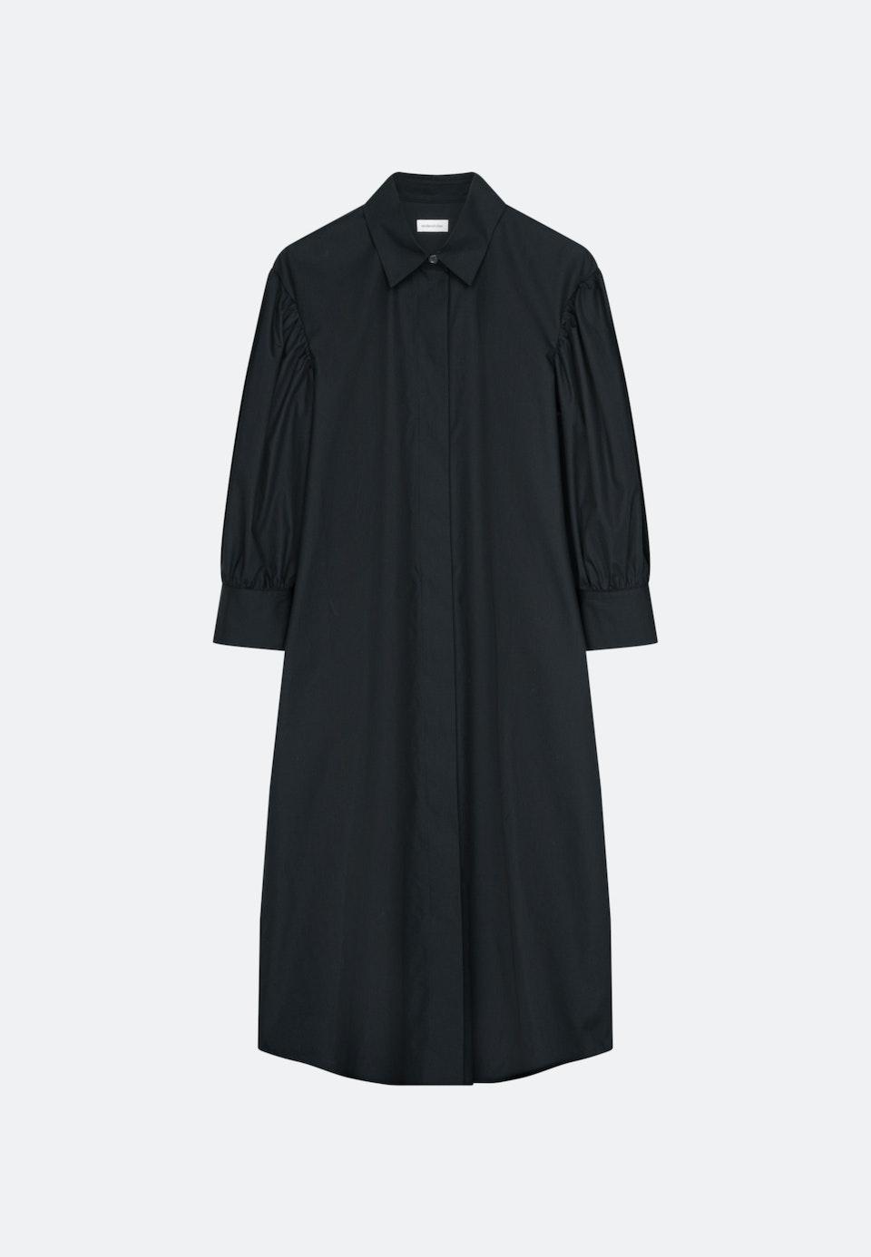 Popeline Maxi Kleid aus Baumwollmischung in Schwarz |  Seidensticker Onlineshop