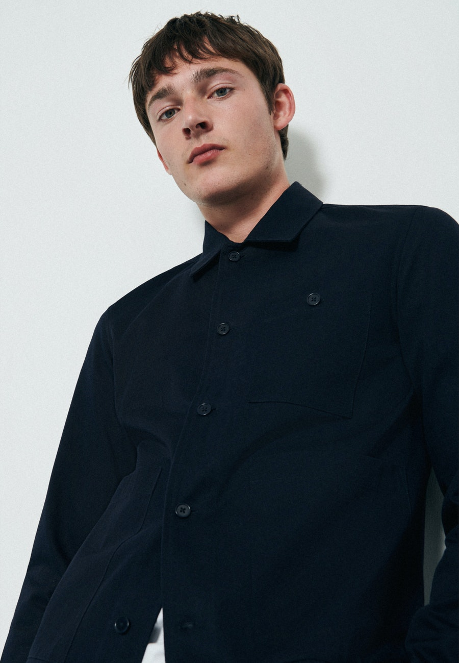 Twill Overshirt in Regular mit Reverskragen in Dunkelblau |  Seidensticker Onlineshop