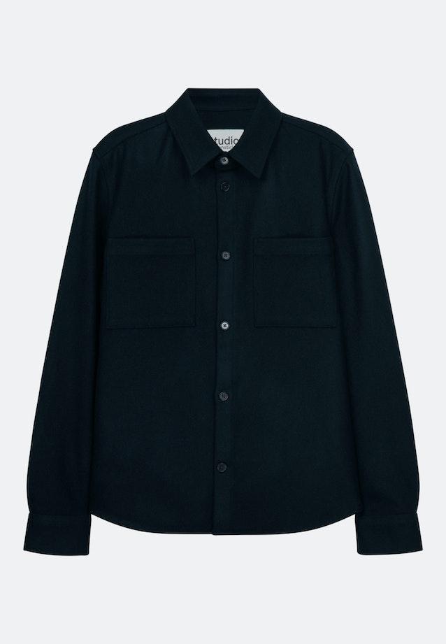 Twill / Moleskin Overshirt in Regular mit Kentkragen in Dunkelblau |  Seidensticker Onlineshop