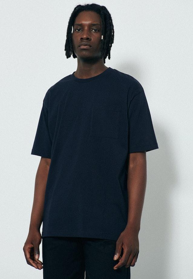 Rundhals T-Shirt aus 100% Baumwolle in Dunkelblau |  Seidensticker Onlineshop