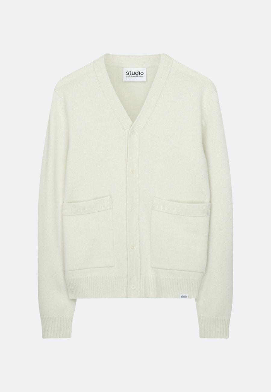V-Neck Strick-Jacke Oversized fit Lammwollmischung in Ecru |  Seidensticker Onlineshop