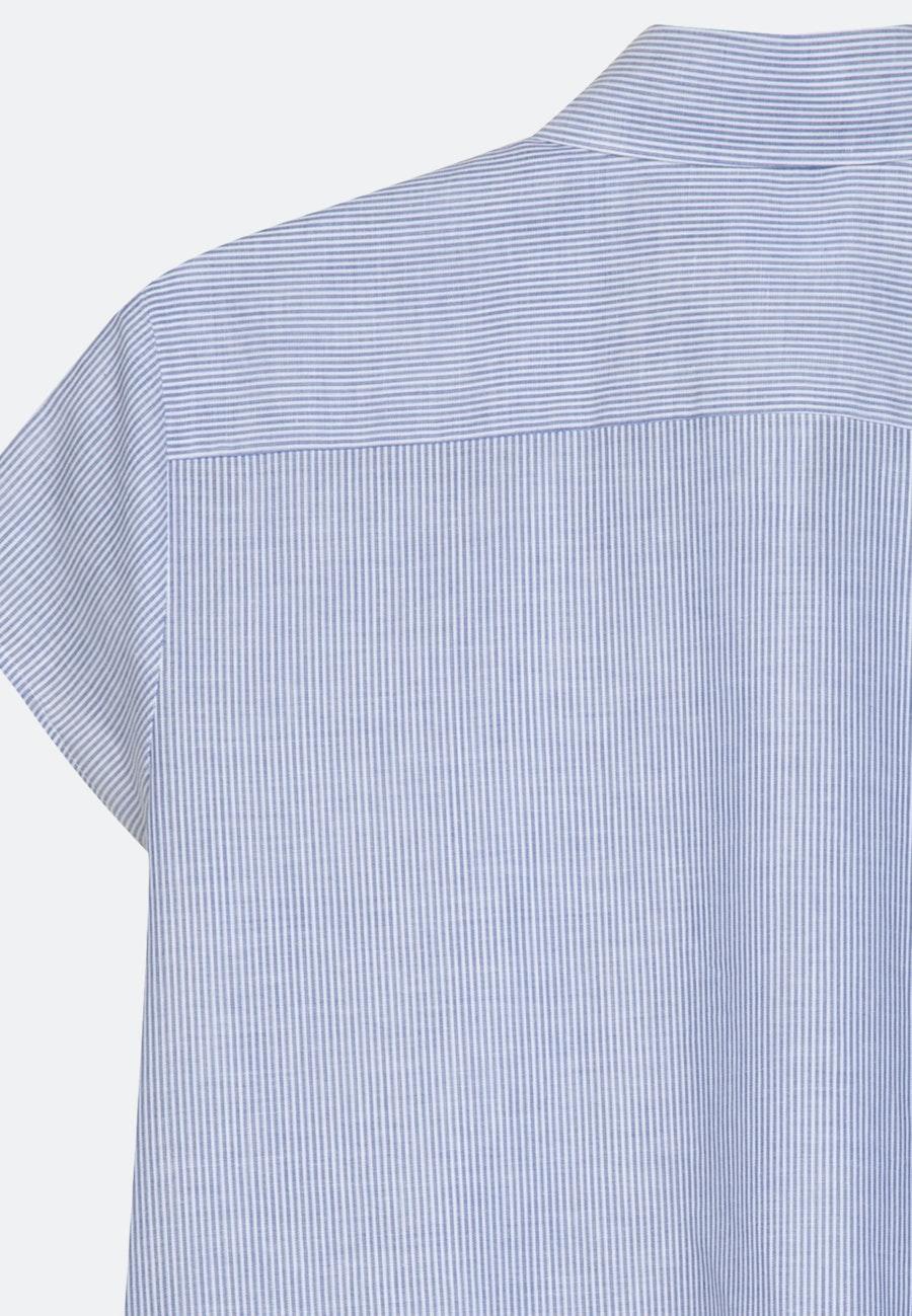 Kurzarm Voile Hemdbluse aus 100% Baumwolle in Mittelblau |  Seidensticker Onlineshop
