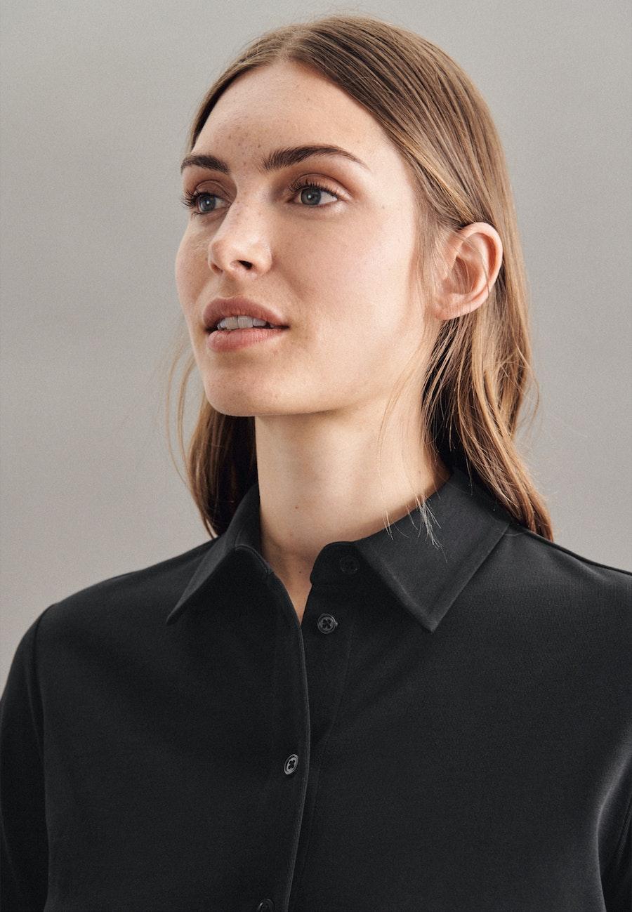 Jersey Hemdbluse aus Baumwollmischung in Schwarz |  Seidensticker Onlineshop