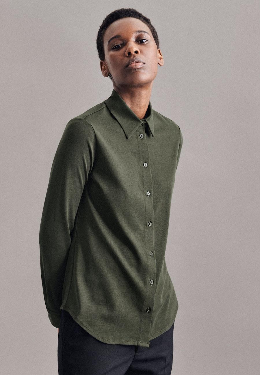 Jersey Hemdbluse aus Baumwollmischung in Grün |  Seidensticker Onlineshop