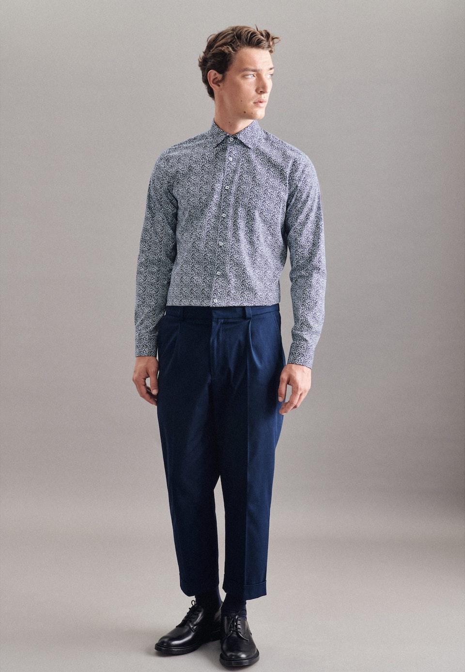 Popeline Business Hemd in Regular mit Kentkragen und extra langem Arm in Dunkelblau    Seidensticker Onlineshop