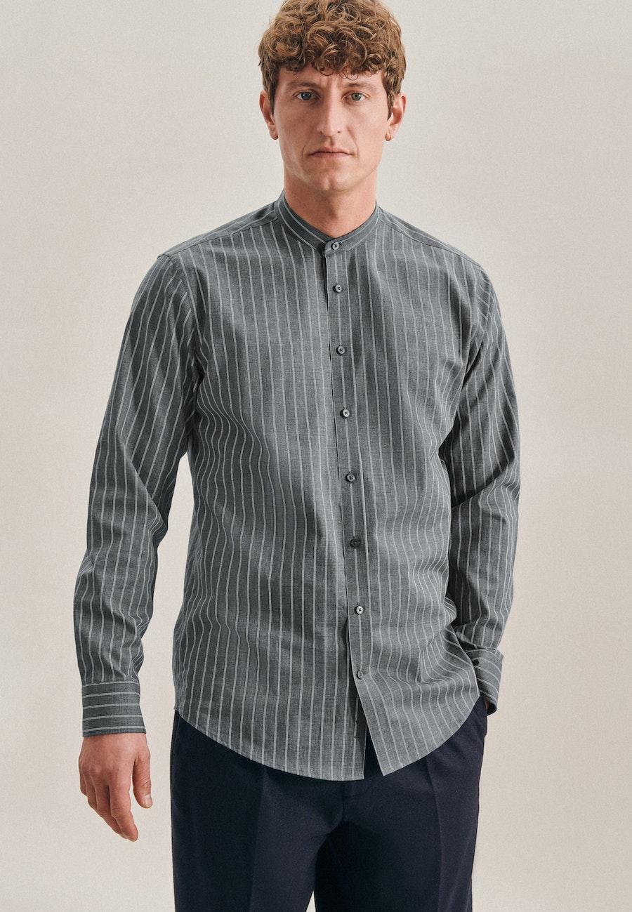 Twill Business Hemd in Regular mit Stehkragen in Grau    Seidensticker Onlineshop