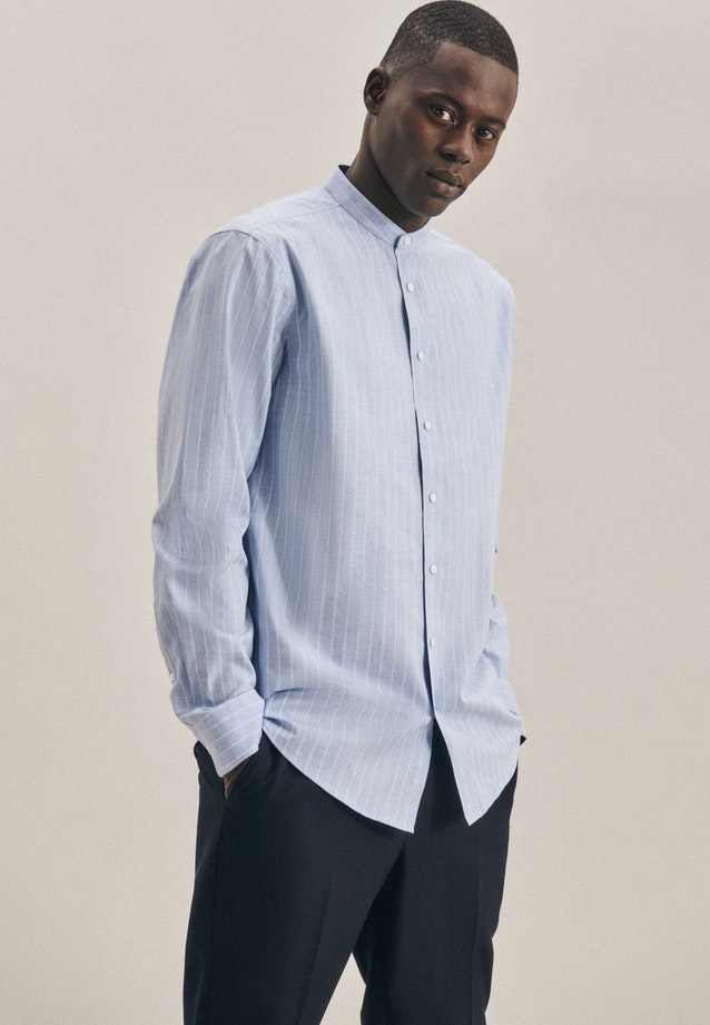 Bügelleichtes Twill Business Hemd in Regular mit Stehkragen in Hellblau |  Seidensticker Onlineshop