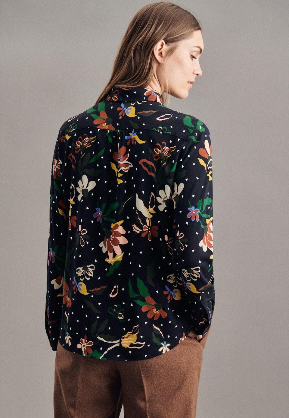 Krepp Hemdbluse aus Viskosemischung in Schwarz |  Seidensticker Onlineshop