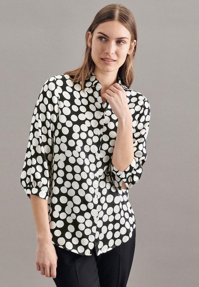 3/4-Arm Satin Hemdbluse aus 100% Viskose in Schwarz |  Seidensticker Onlineshop