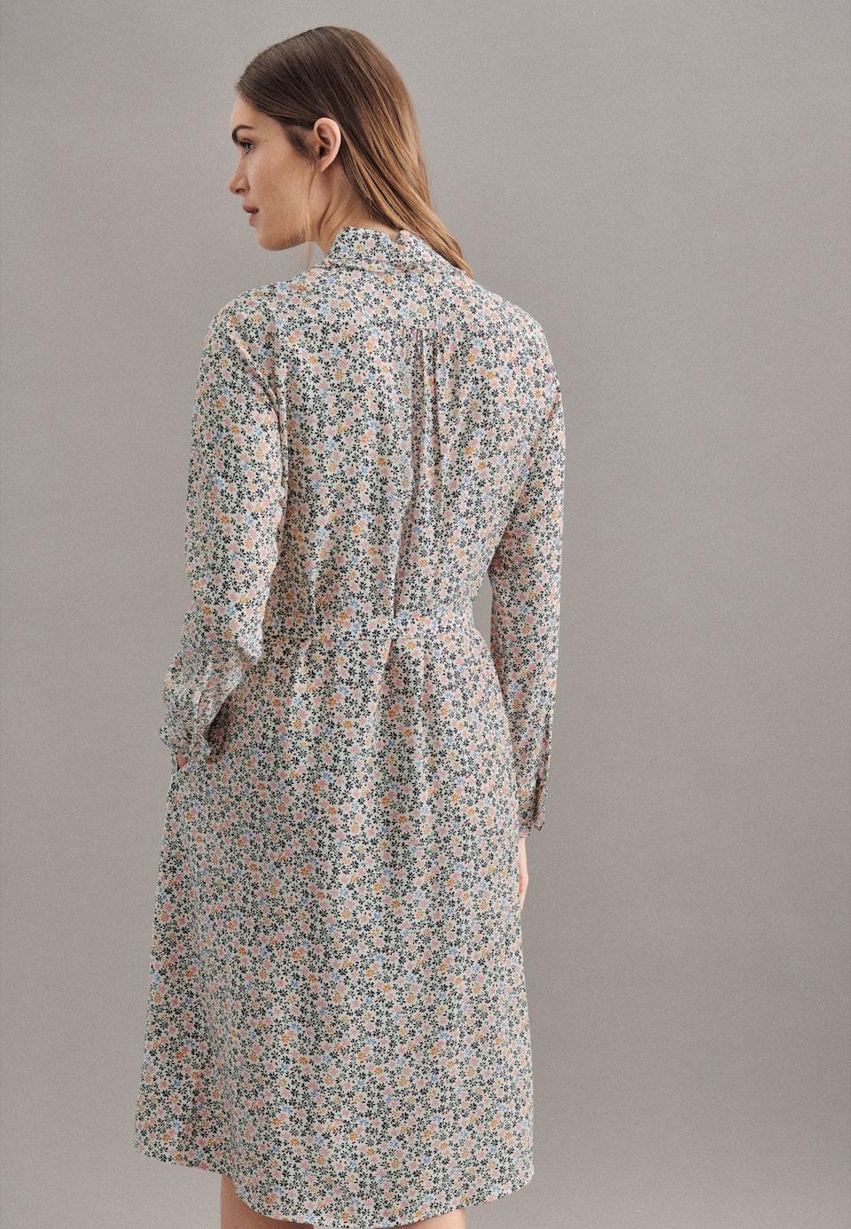Krepp Midi Kleid aus Viskose & Wolle in Ecru |  Seidensticker Onlineshop