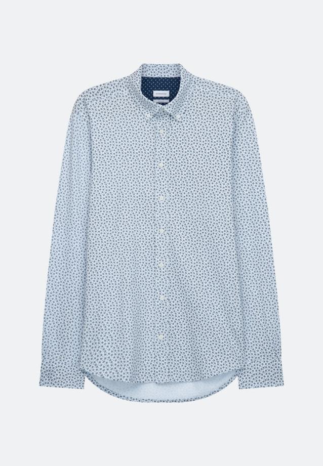 Bügelleichtes Jersey Casual Hemd in Regular mit Button-Down-Kragen in Dunkelblau |  Seidensticker Onlineshop
