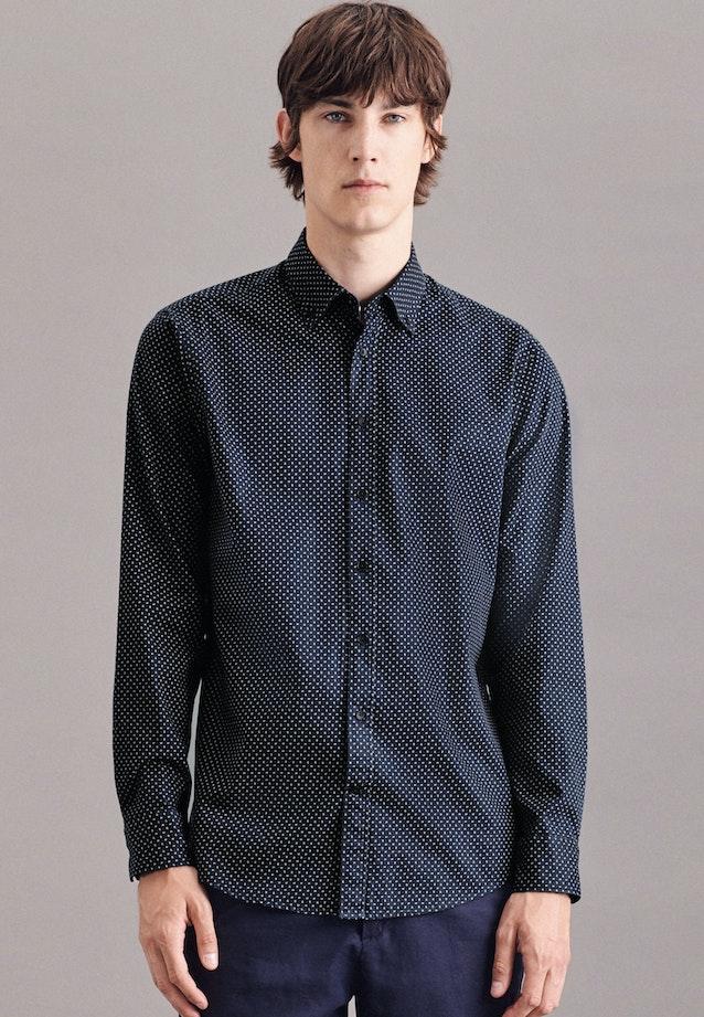 Bügelleichtes Twill Casual Hemd in Regular mit Button-Down-Kragen in Dunkelblau |  Seidensticker Onlineshop