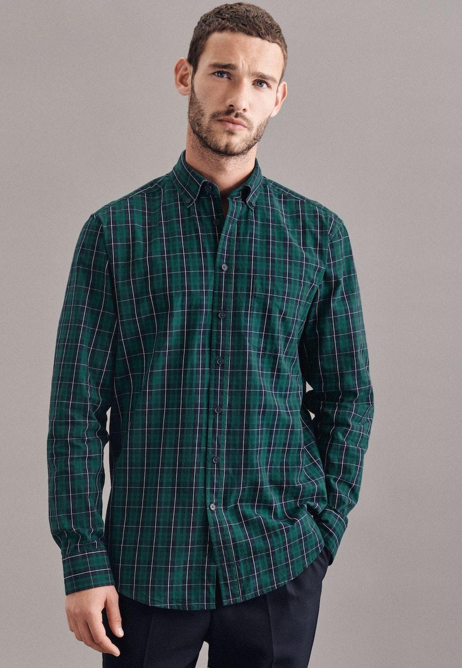 Twill Casual Hemd in Regular mit Button-Down-Kragen in Grün |  Seidensticker Onlineshop