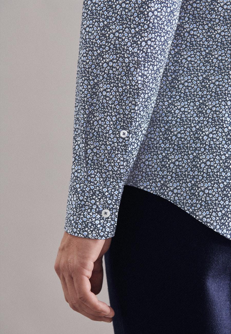 Popeline Business Hemd in Shaped mit Kentkragen und extra langem Arm in Dunkelblau    Seidensticker Onlineshop