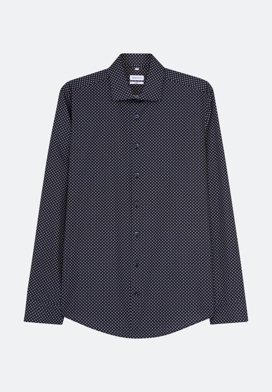 Popeline Business Hemd in Slim mit Kentkragen und extra langem Arm in Dunkelblau |  Seidensticker Onlineshop