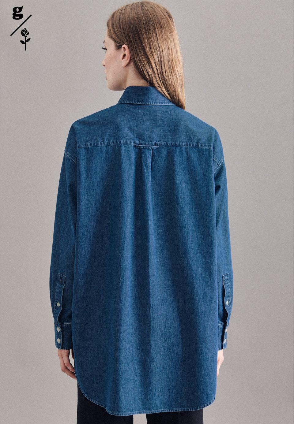 Denim Longbluse aus 100% Baumwolle in Dunkelblau |  Seidensticker Onlineshop