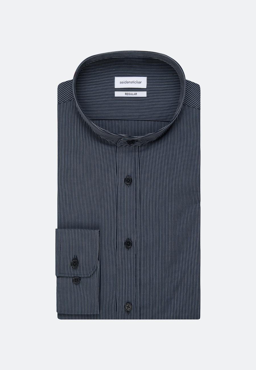 Bügelleichtes Popeline Business Hemd in Regular mit Stehkragen in Dunkelblau    Seidensticker Onlineshop