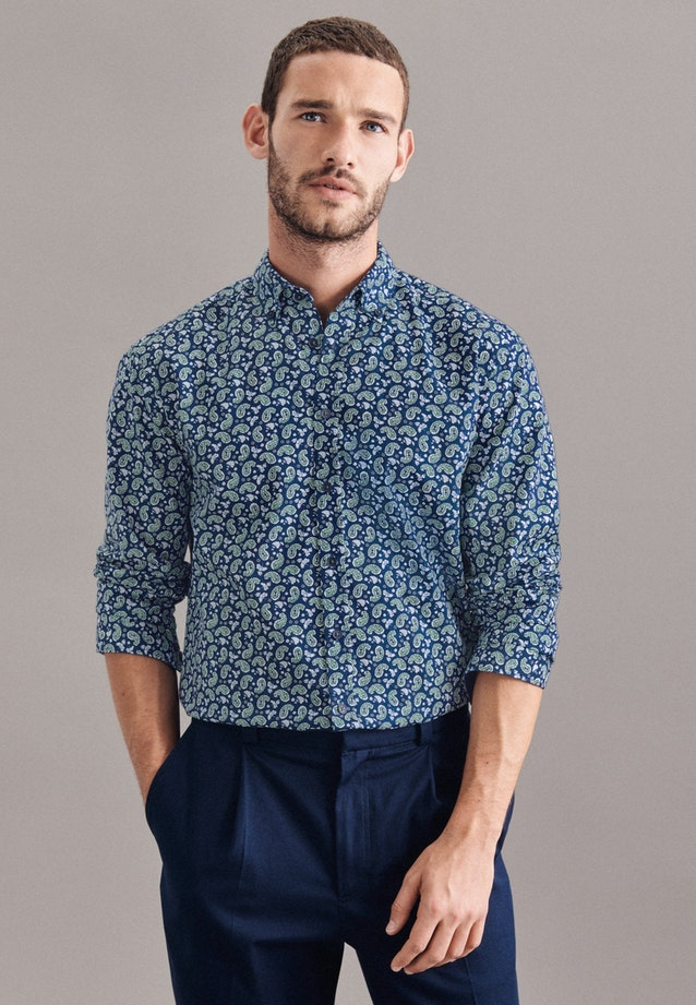 Twill Casual Shirt in Regular with Button-Down-Collar in Dark blue    Seidensticker Onlineshop