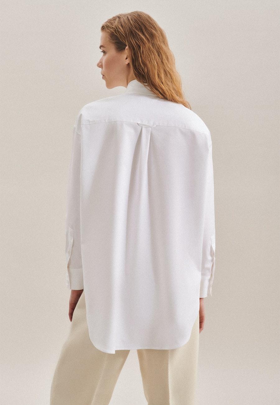 Twill Longbluse aus Baumwollmischung in Weiß |  Seidensticker Onlineshop