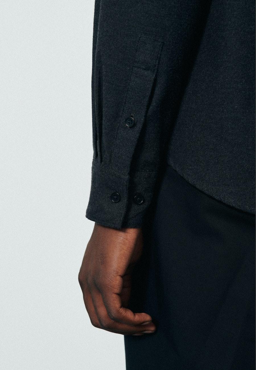 Twill Casual Hemd in Regular mit Button-Down-Kragen in Grau    Seidensticker Onlineshop