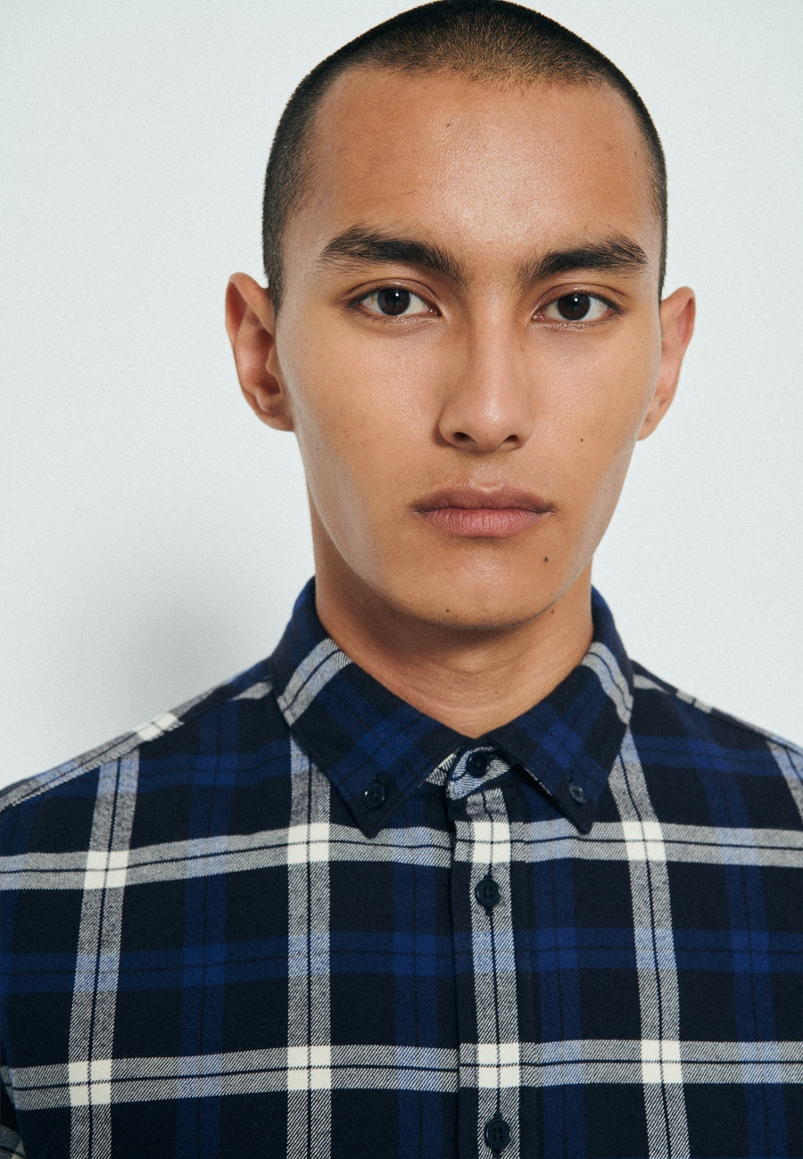 Twill Casual Hemd in Regular mit Button-Down-Kragen in Dunkelblau    Seidensticker Onlineshop