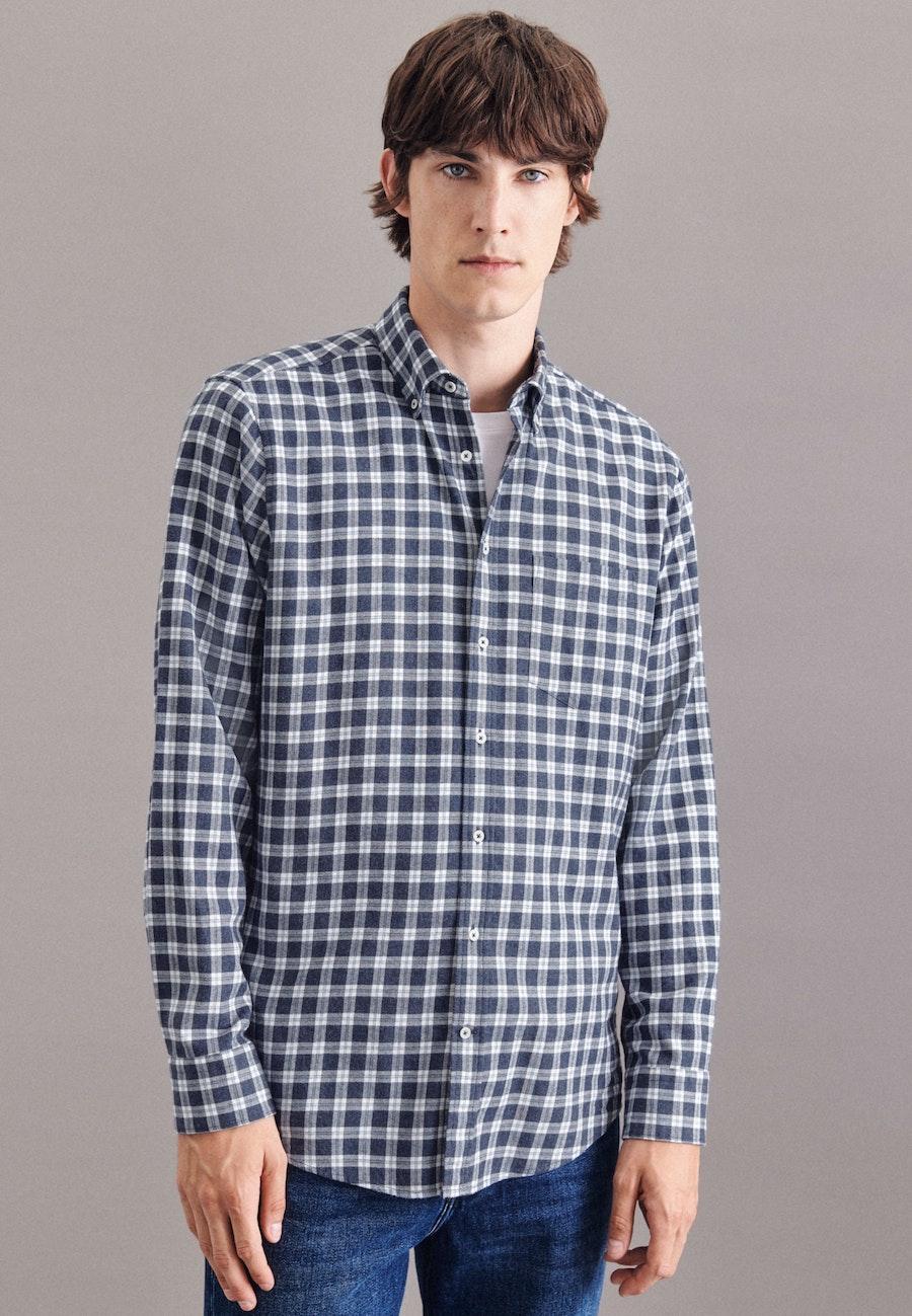 Twill Casual Hemd in Regular mit Button-Down-Kragen in Mittelblau |  Seidensticker Onlineshop