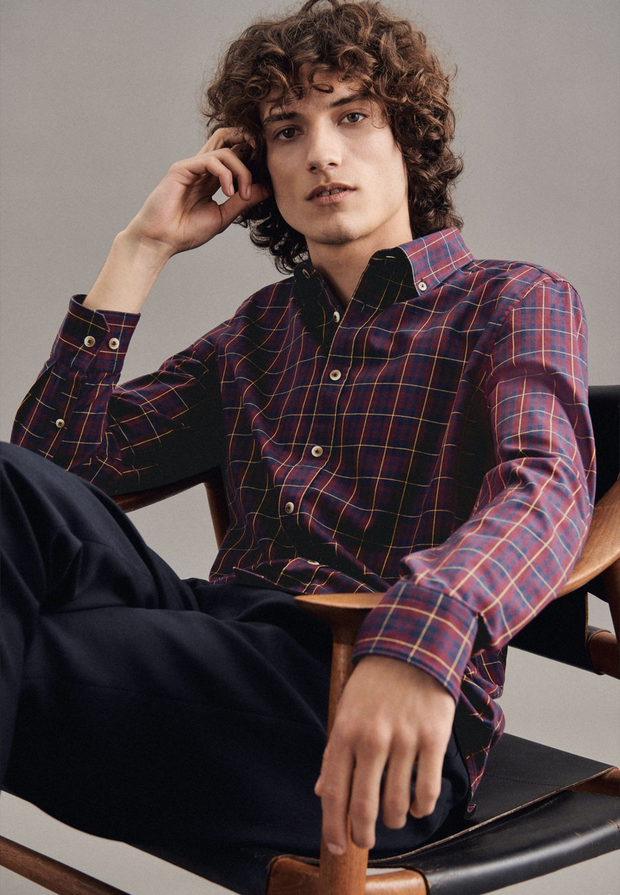 Twill Casual Hemd in Slim mit Button-Down-Kragen in Rot |  Seidensticker Onlineshop