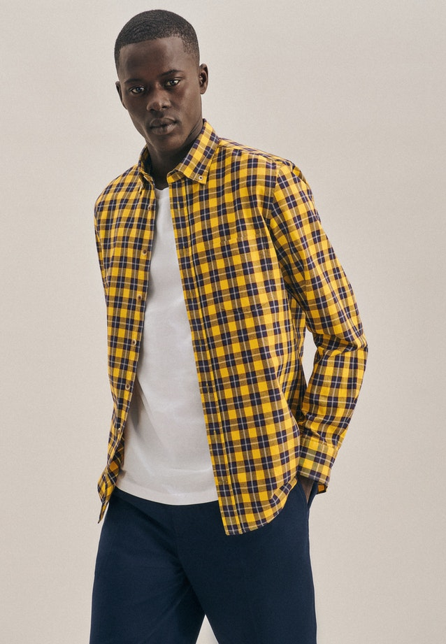 Twill Casual Hemd in Slim mit Button-Down-Kragen in Gelb |  Seidensticker Onlineshop