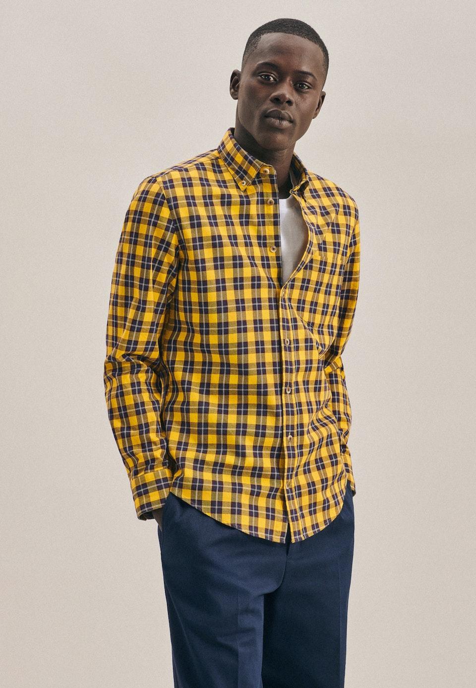 Twill Casual Hemd in Slim mit Button-Down-Kragen in Gelb    Seidensticker Onlineshop