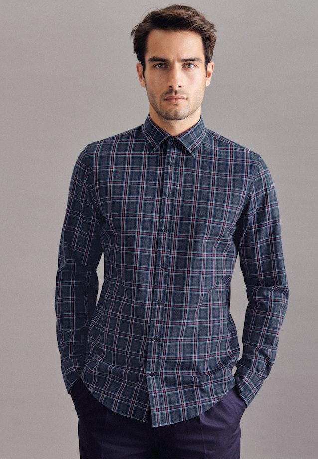Twill Casual Hemd in Slim mit Button-Down-Kragen in Dunkelblau    Seidensticker Onlineshop