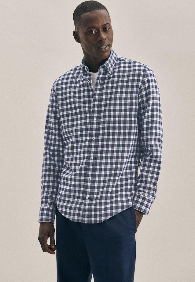 Twill Casual Hemd in Slim mit Button-Down-Kragen in Mittelblau |  Seidensticker Onlineshop