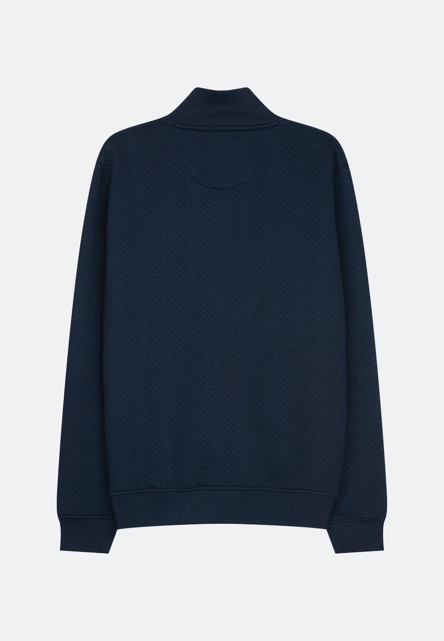 Stehkragen Strick-Jacke aus 65% Polyester 35% Baumwolle in Dunkelblau |  Seidensticker Onlineshop