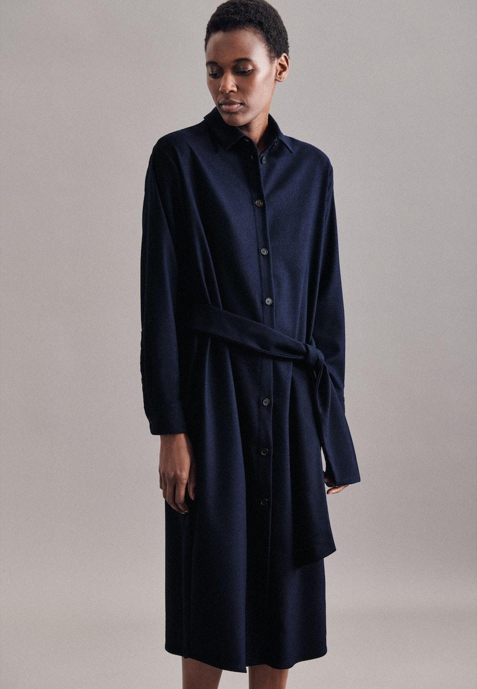 Flanell Maxi Kleid aus Wollmischung in Dunkelblau |  Seidensticker Onlineshop