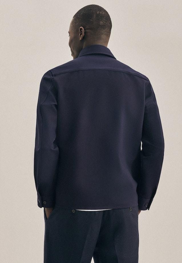 Jersey Overshirt in Regular mit Kentkragen in Dunkelblau |  Seidensticker Onlineshop