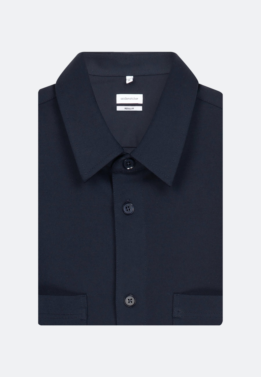 Jersey Overshirt in Regular mit Kentkragen in Dunkelblau    Seidensticker Onlineshop