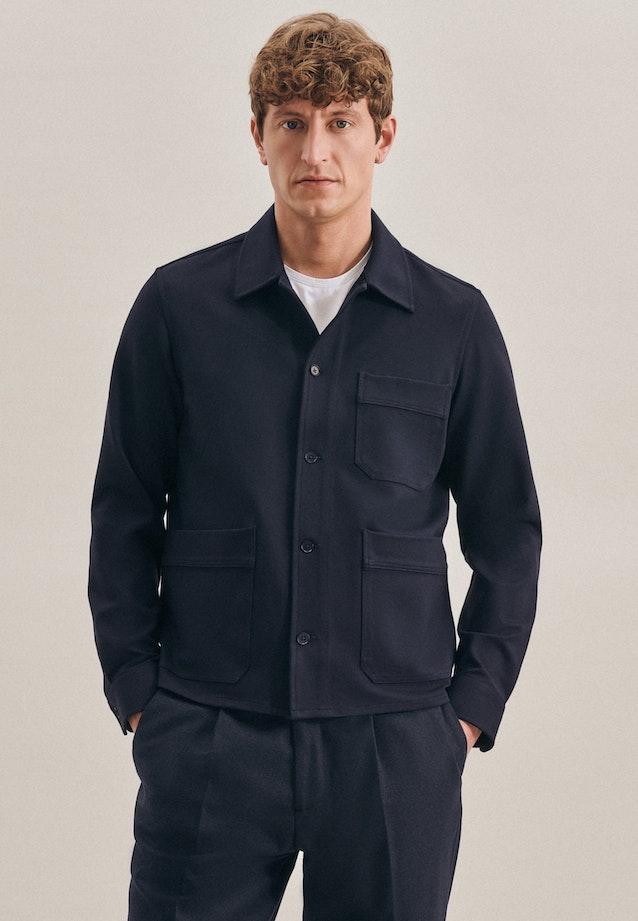 Jerseyhemd in Regular mit Reverskragen in Dunkelblau |  Seidensticker Onlineshop