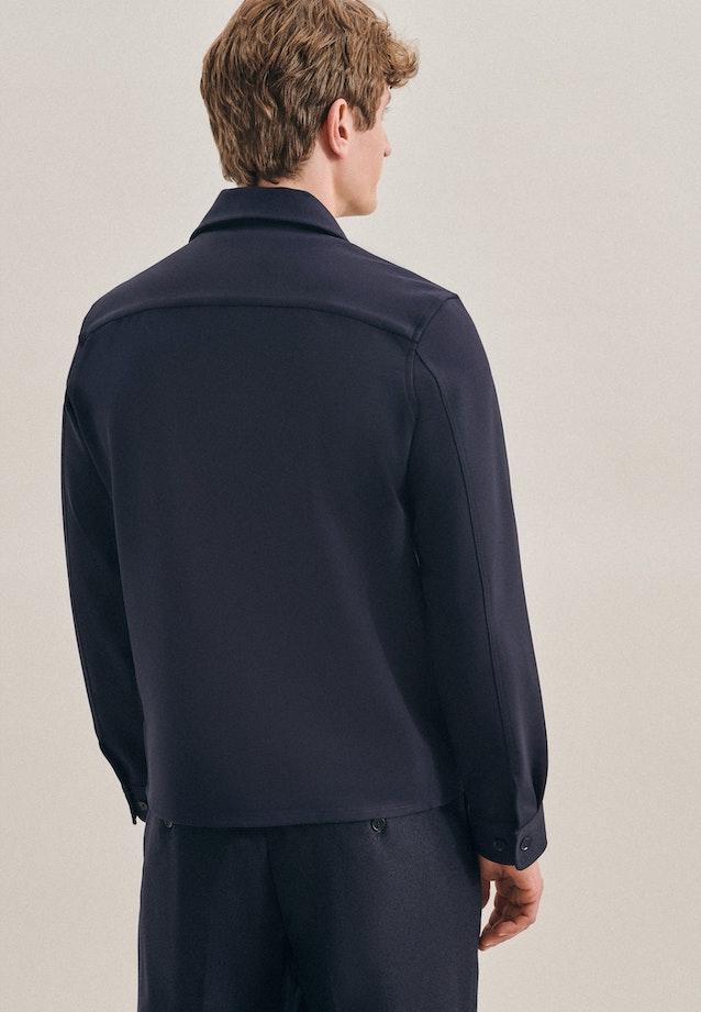 Jersey Overshirt in Regular mit Reverskragen in Dunkelblau |  Seidensticker Onlineshop