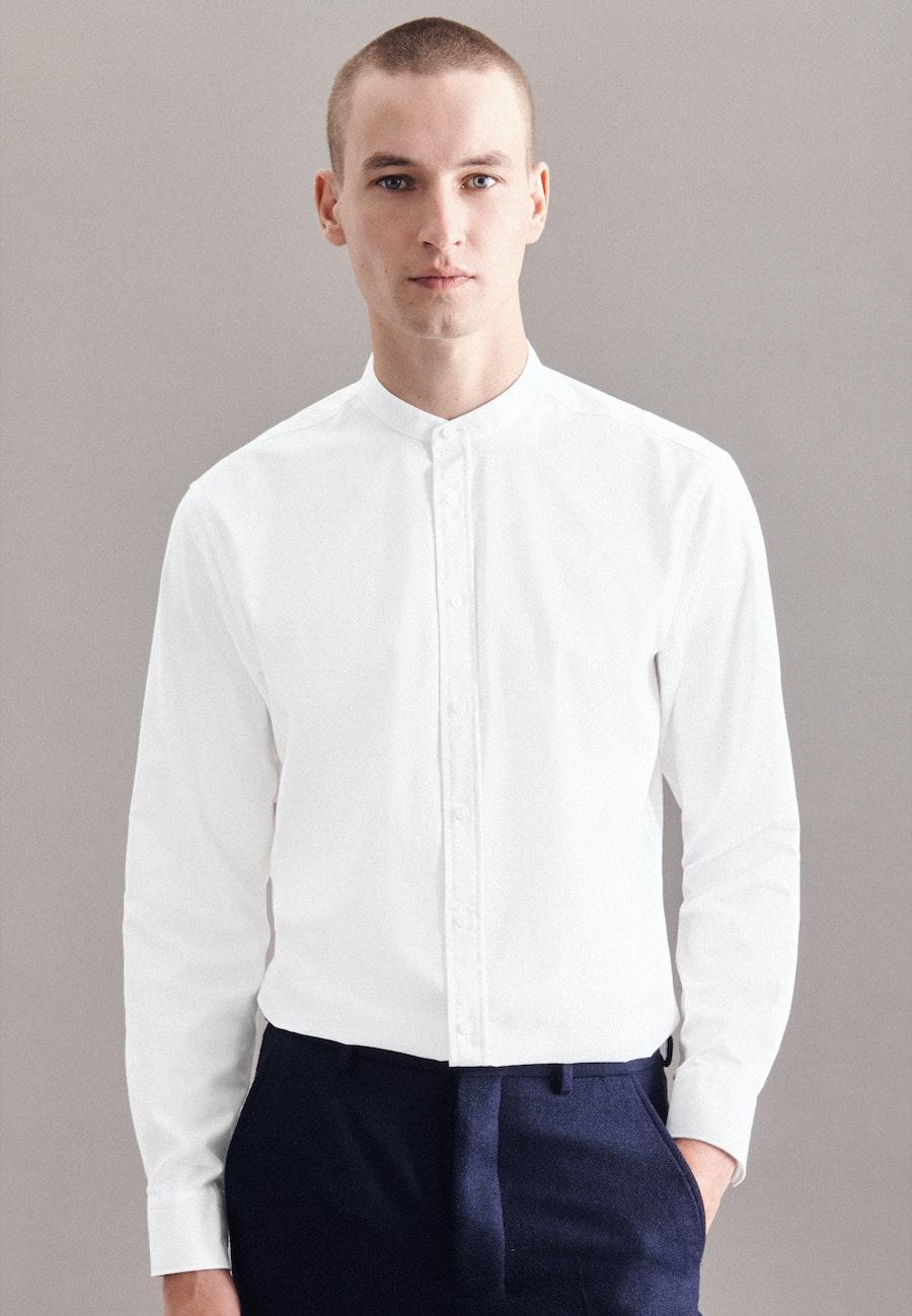 Bügelleichtes Twill Business Hemd in Regular mit Stehkragen in Weiß |  Seidensticker Onlineshop